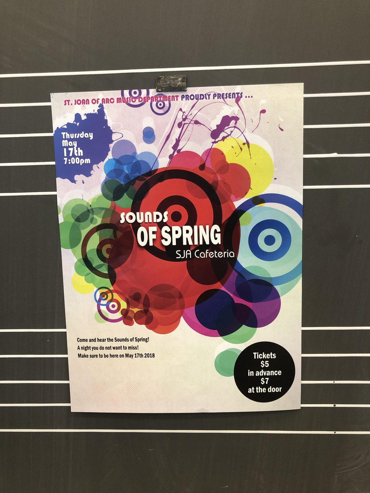 The SJA Arts Department  PRESENTS SOUNDS OF SPRING